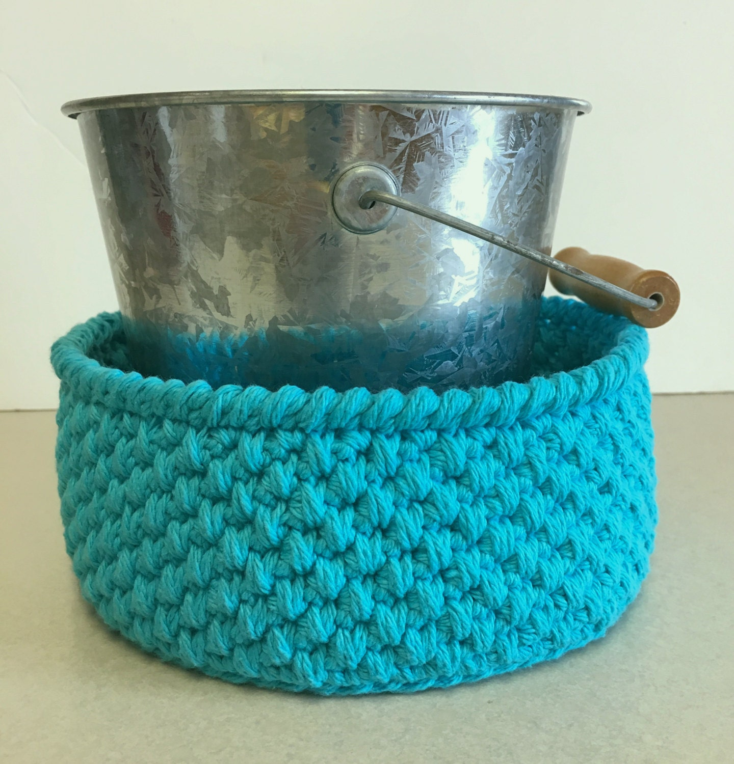 Handmade cotton crochet storage gift basket bowl bathroom for Turquoise bathroom bin