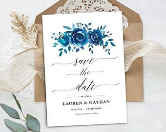 Blue Floral Save the Date Template, Printable Save the Date Card, Wedding Save the Date, Editable Text, 5x7, Indigo Floral