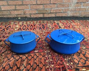 Vintage Dansk Cookware Pots with Lids Set Blue France French