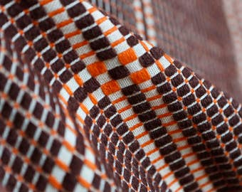 Reversible vintage woven wool plaid brown and orange bed cover/ bedspread/ cover
