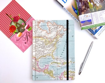 Travel journal, map notebook, A5 hardback workbooks, stationery, atlas fabric, North America, USA