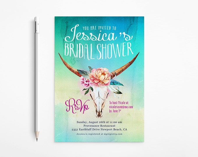 Printable Boho Bridal Shower Invitation - Country - Western - Ombré - Watercolor - Feathers - Flowers - Teal - Bachelorette Party