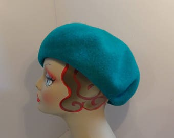 Woman's French Beret/Tam Wool Turquoise hand blocked lined Garbo 1930's