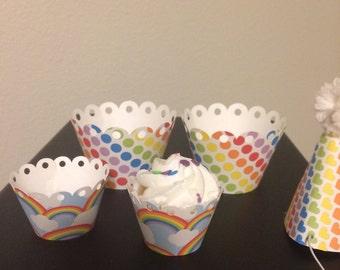 12 rainbow mini cupcake wrappers