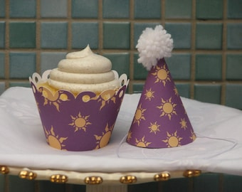 Cupcake Wrappers - Rapunzel Tangled princess - set of 12