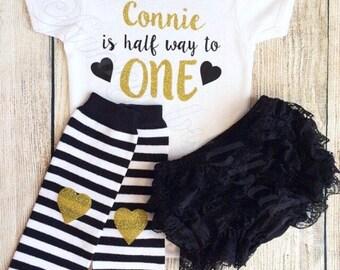 Half Birthday Outfit - Bodysuit, Bloomers, Leg Warmers, Headband - Photoshoot, Baby Girl 6 Month Cake Smash Photo Prop Gift Vest