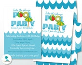 Swimming Pool Party Printable Invitation, 5x7in. Instant Download