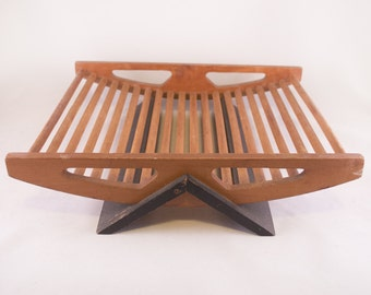 Mid Century Modern Dowel Wood Catch All Basket Tray Rack Made in Japan California Modern