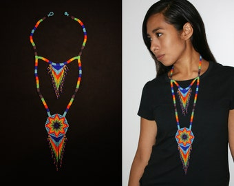 Southwestern Starburst Necklace, Native American Beaded Necklace, Seed Bead Necklace, American Indian Beadwork, Medallion Necklace, Tribal