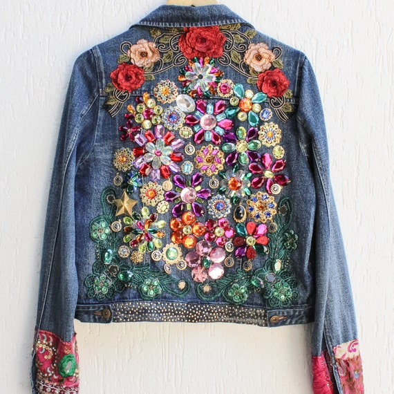 Vintage  Embroidered Denim Jacket / Boho Jeans Jacket/ Embroidered Festival Jewelry Jacket / Handmade Embroidery / Medium
