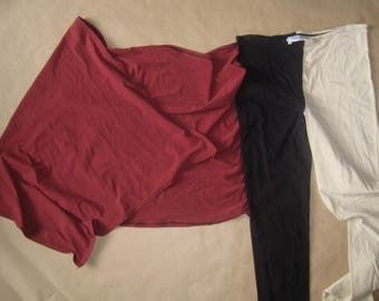 "Gaultier ""public ""# unisex leggings  with wrap   # creme/bl/burgundy # size S"