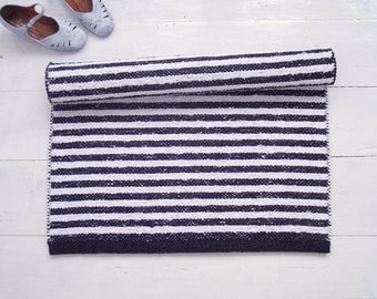 Black White Striped Rug, Cotton Rug, Scandinavian Rug, Handmade, Washable, Woven on the Loom, Made to Order