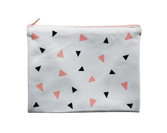 Graphic zip pouch with pink and black triangles, hand-printed and hand-made