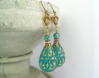 Emerald earrings vintage brass ornaments brass rhinestone rondelles teal czech glass beads boho earrings dark green golden ornament dangles