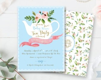 Tea Party - High Tea baby shower invitation - Baby Boy - Blue Gold - Floral invitation  Invite - Card - printable - DIY - Digital