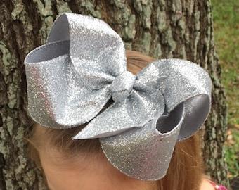 XL Silver Hair Bow - Big Silver Hair Bow - Big Hair Bows - Big Hairbows - Silver Bow - Silver Bows