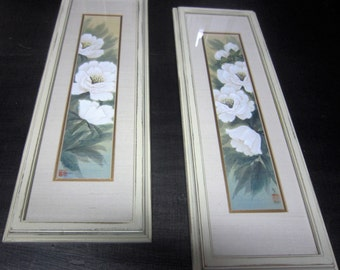 March Madness Sale 10 dollars off. Vintage Framed Floral Art, Antique White Framed Art, Floral art, Shabby Chic, French Country