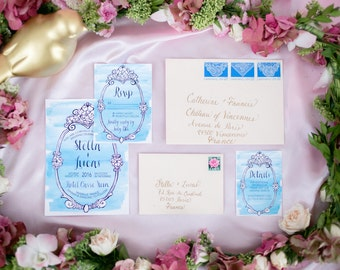 Vintage French Rococo Blue Wedding Invitations | Printable or Professionally Printed | Watercolor Wedding Invitation Suite