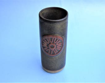 Cornish'TREMAR POTTERY VASE 125mm tall with geometric decoration , stamped with pottery studio stamp