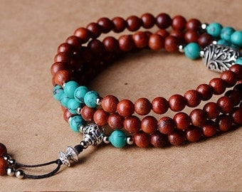 6mm Siam Rosewood and Green Turquoise Beads Bracelet