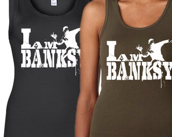 i am banksy tribute shirt - tank top - womens