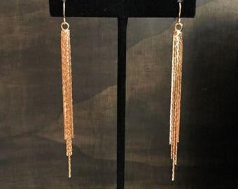 Waterfall Earrings // Gold Chandalier Earrings // Long Gold Earrings //
