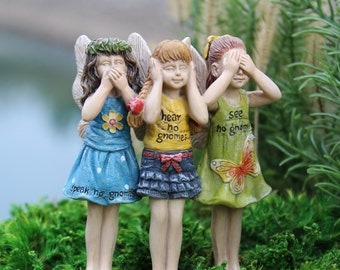 Fairy Garden  - No Gnomes Trio - Miniature