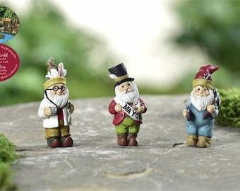 Fairy Garden  - Woodland Gnomes - Set of 3 - Miniature