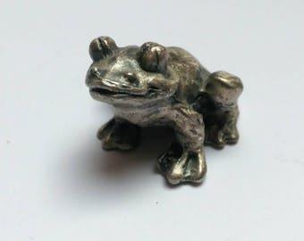 Vintage pewter happy frog figurine