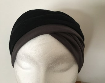 Black/grey turban/headband