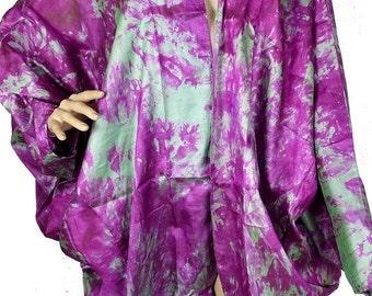 CARDIGAN jacket LONG jacket coat long green fuschia silk vtd84