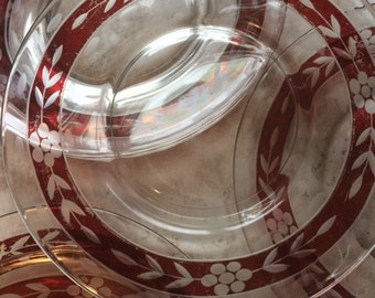 Set of 6 cranberry etched  for salad or bread