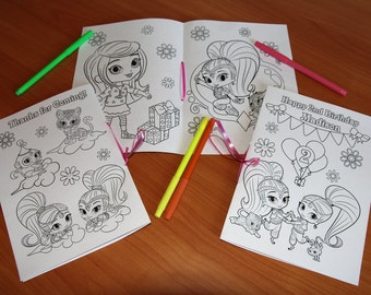 Shimmer and Shine Birthday Party coloring pages, Shimmer and Shine activity book, PDF file