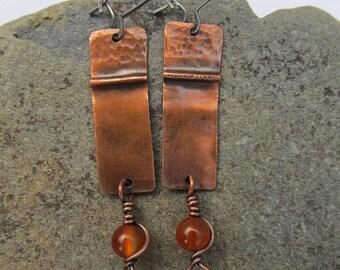 Copper Earrings, Agate Earrings, OOAK, Fold Form, Handmade, Folded Earrings, Gemstone Earrings, For Her, Earthy, Antique, Simple, Stainless