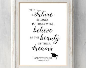 The future belongs to those who believe.  Graduation Print.  Class of 2017.  Can Personalize.  All Prints BUY 2 GET 1 FREE!