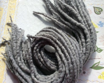 10 Double Ended Gray Dreads/gray wool dreadlocks/wool dreads/double ended dreads/woolies/grey dreads/gray dreads/DE wool dreads/gray DE