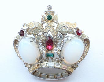 Corocraft Royal Crown Brooch Moon Stones very rare design figural AB152