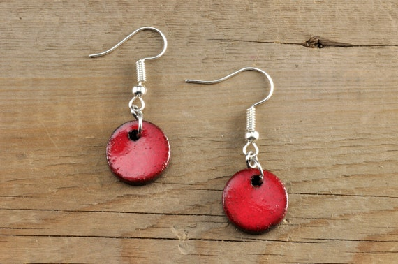 SMALL glossy red round stoneware drop earrings
