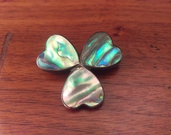 Vintage Sterling and Mother of Pearl Clover Shaped Hearts Brooch