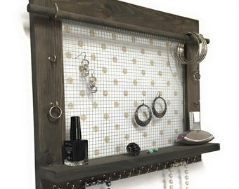 Barn Wood Jewelry Organizer - Wall Hanging Display