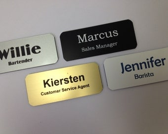 "Name Badge Set of 6 - 1.5"" x 3"" Rotary Engraved - Personalized Badge w/ Magnet Back or Pin Fastener - Wholesale Lot - Name Tag"