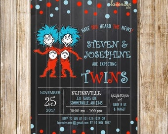 Chalkboard Dr SEUSS THING 1 THING 2 Twins Baby Shower Invitation, Dr Seuss Twin Shower, Dr Suess Co-ed Couples Shower, Digital Printable