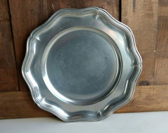 Charming French vintage large fluted pewter plate/charger/decoration with makers stamps circa 1970s.