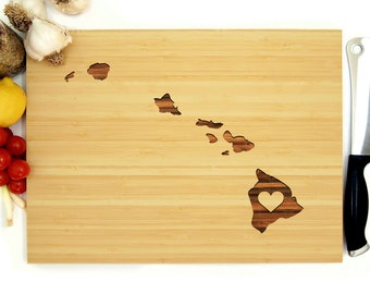 Shower hostess gift etsy hawaii cutting board custom wedding gift hawaii state engraving with heart bridal shower negle Gallery