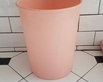 Mid Century Pink Plastic Waste Basket Trash pail bucket bathroom can