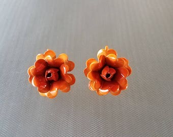 Vintage Orange Flower Enameled Metal Clip on Earrings