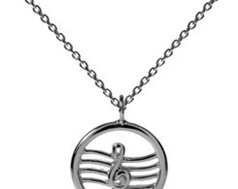 Sterling Silver Treble Clef Pendant, Music Note Necklace, Musician Pendant Gift