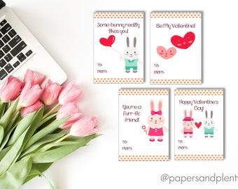 DIGITAL FILE - Bunny Valentine Cards for Kids (DIY) set of 4 | Animal Valentine Cards | Kid's Valentine Cards | | Valentine's Day |Printable