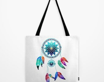 Dream Catcher Tote Bag Personalized - Small Medium Large - Gift for her Girlfriend Feather Woman Beach Market Urban Tribal Native Wanderlust