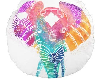 "Elephant Round Pillow 16"" Boho Colorful Animals Unique Sofa Bedroom Gift for Women Kids Teens Girlfriend Boyfriend Birthday Yoga Cute"